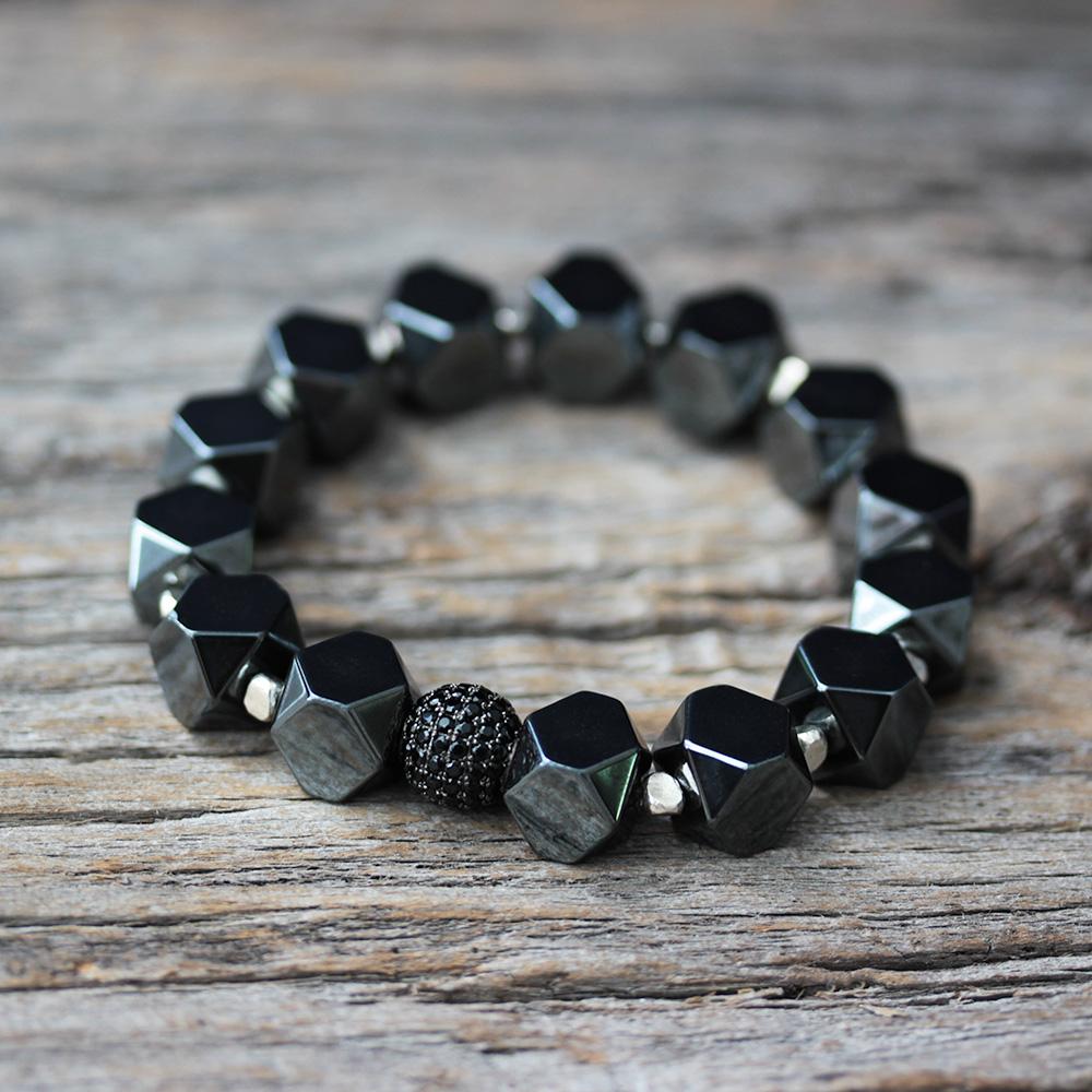 Pave Hematite Bracelet in Karen Hill Tribe Silver