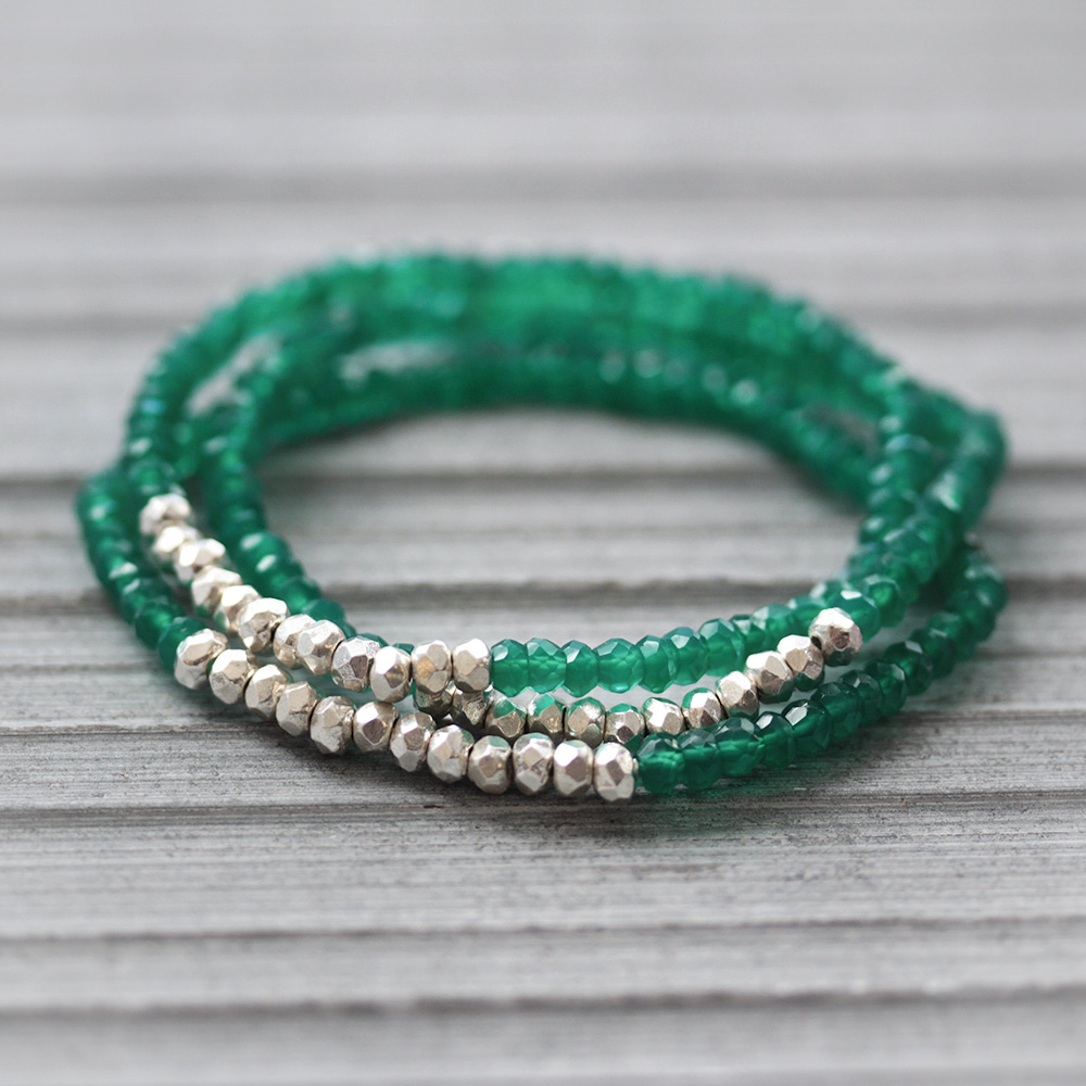 Green Onyx Boho Hill Tribe Stacking Bracelets