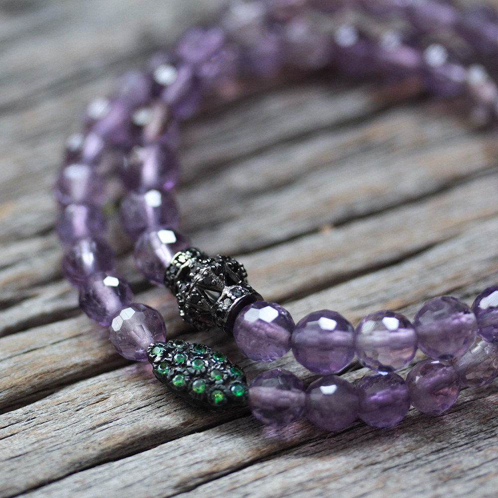 Black Diamond Amethyst Beaded Bracelet