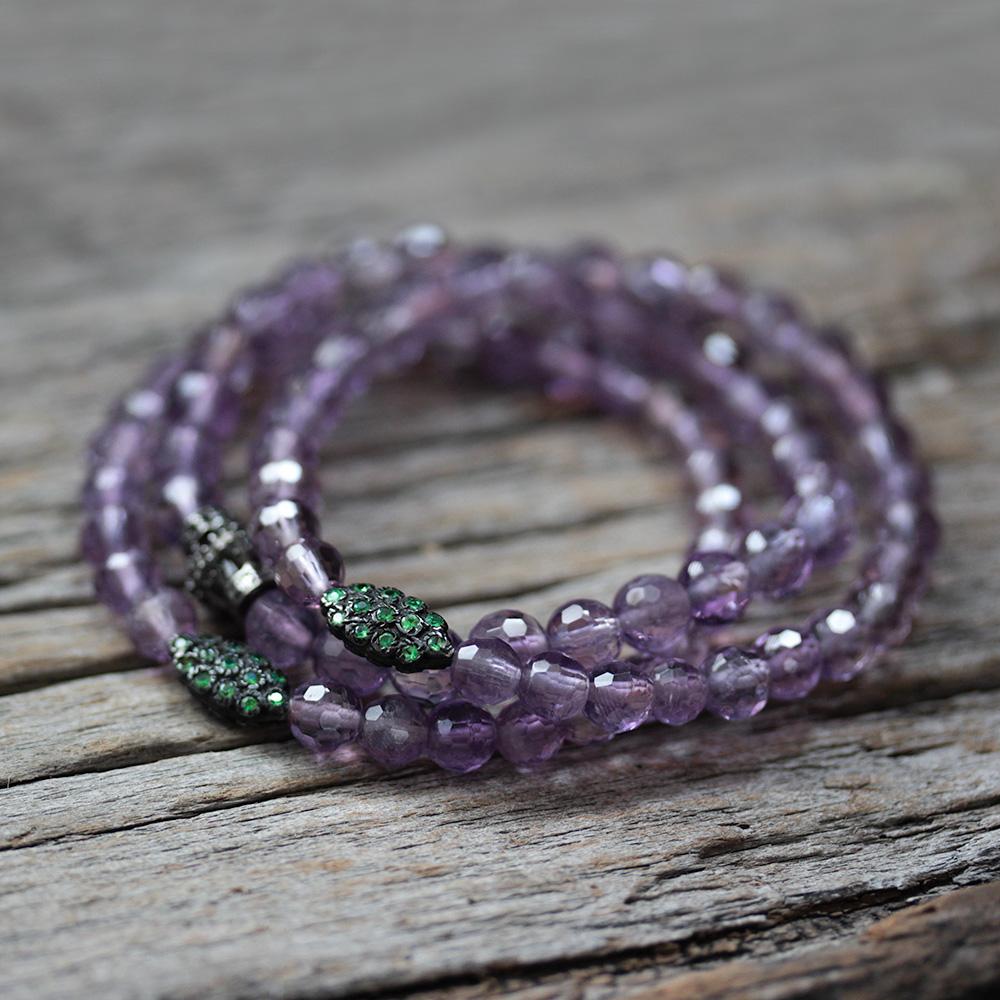 Black Diamond Amethyst Beaded Bracelet