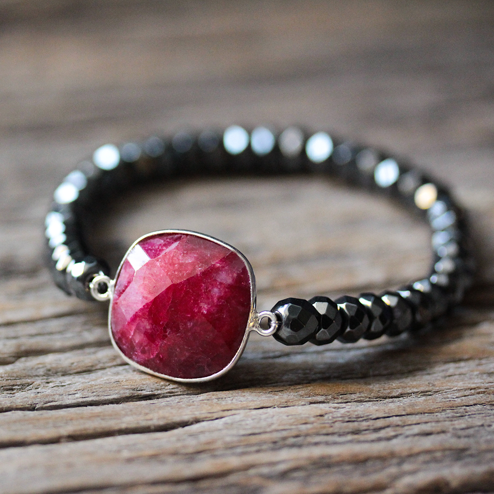 Ruby Hematite Stacking Bracelet