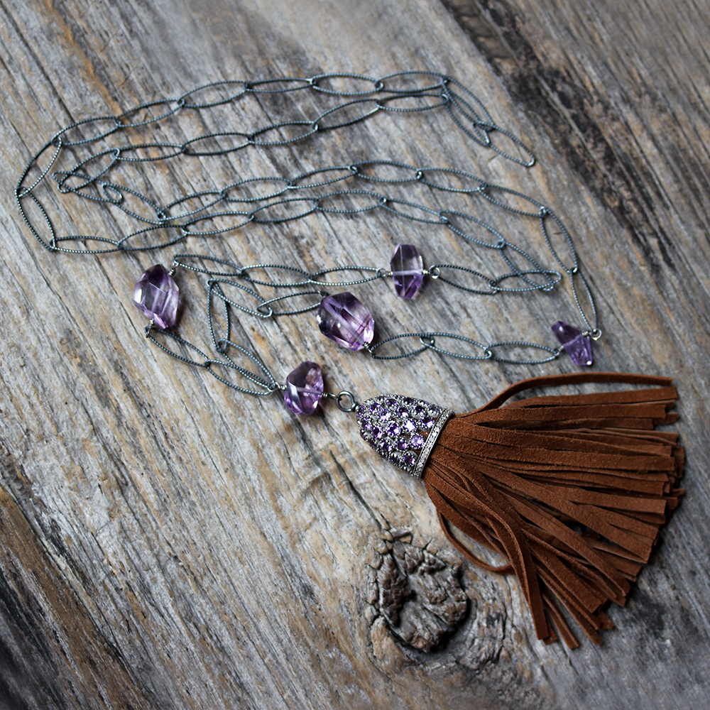 Boho Amethyst Diamond Tassel Necklace