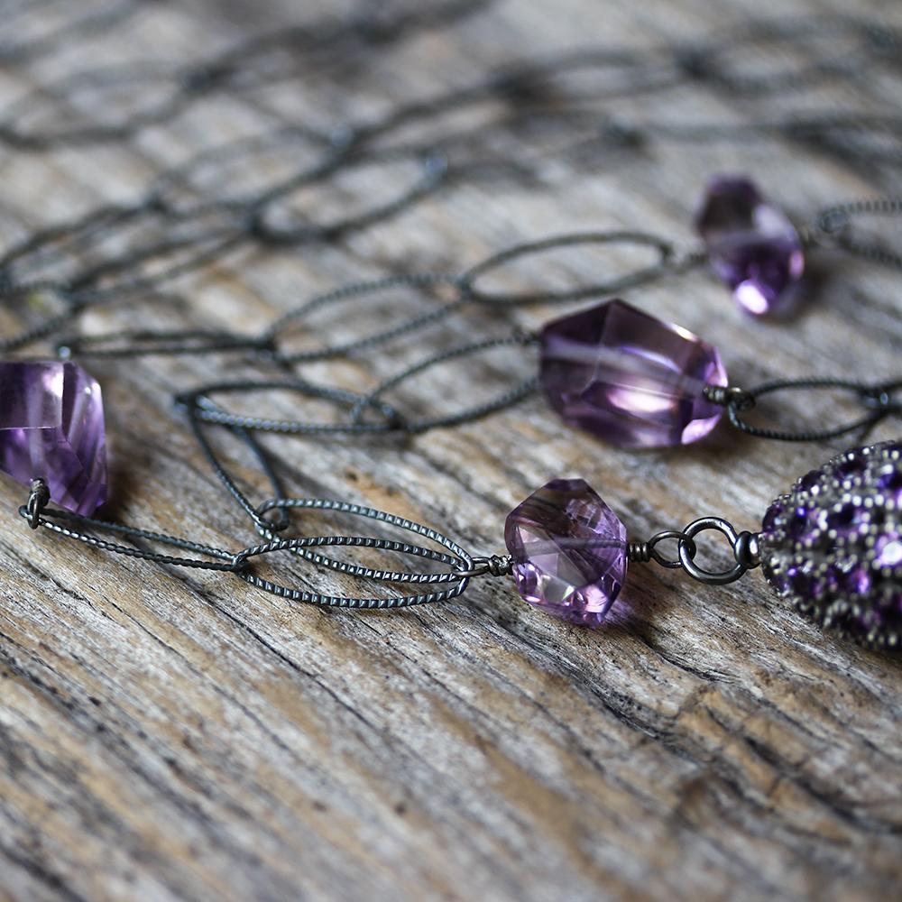 Boho Amethyst Diamond Tassel Necklace