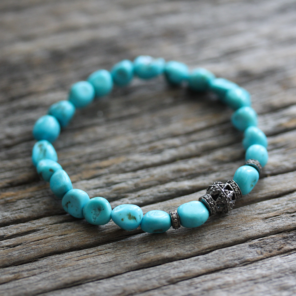 Diamond Pave Herkimer Diamond Sleeping Beauty Turquoise Bracelet