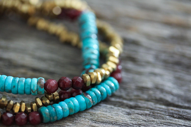 Sleeping Beauty Vintage Turquoise, Jade & Brass Bracelet