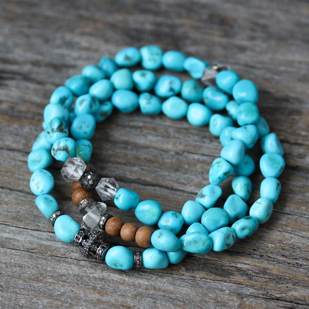 Sleeping Beauty Turquoise Black Diamond Bracelet
