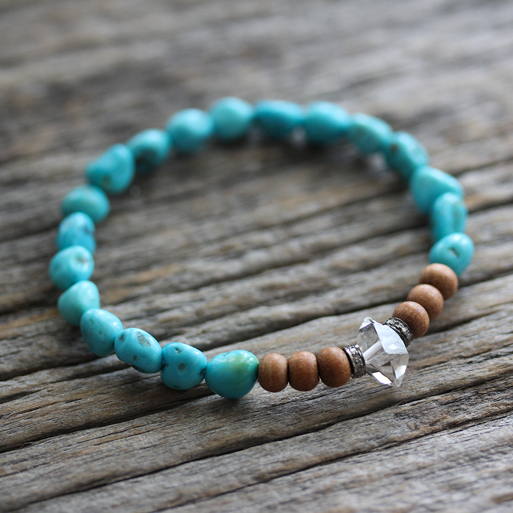 Sandalwood Diamond Sleeping Beauty Turquoise Bracelet