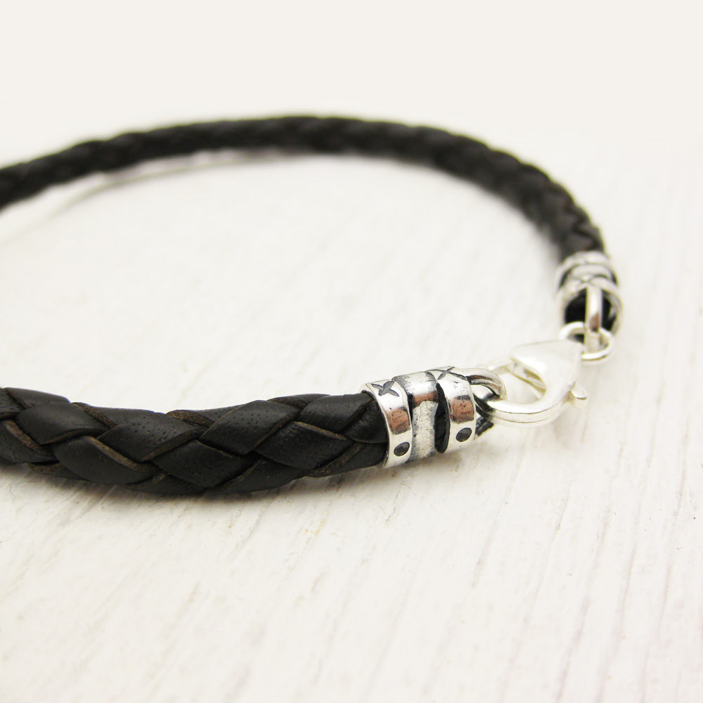 Antiqued Brown Eco Friendly Leather in Sterling Silver