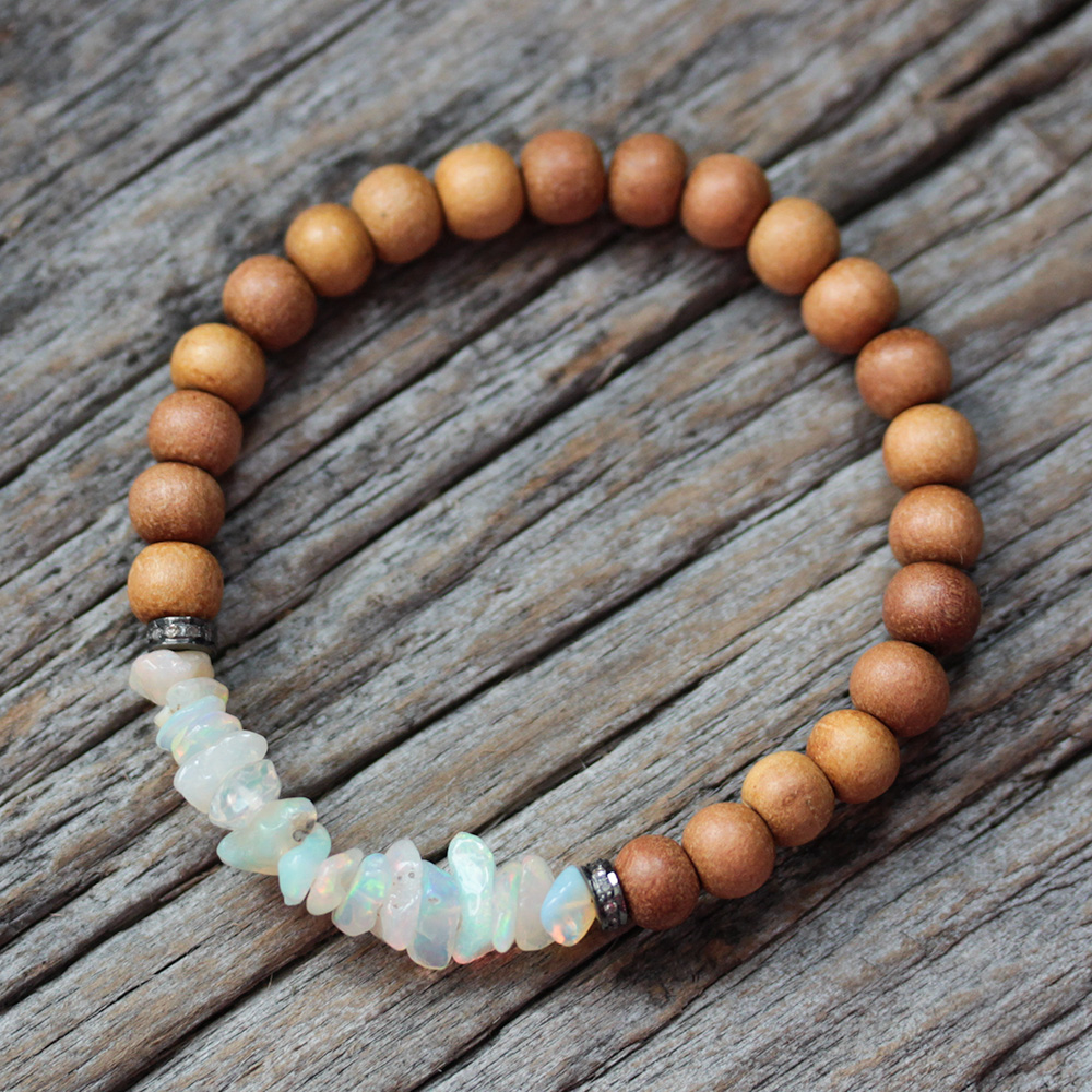 Opal Diamond Sandalwood Boho Beaded Bracelet