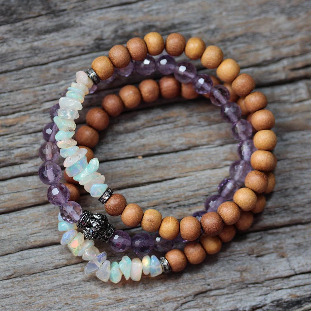 Opal Diamond Sandalwood Boho Beaded Bracelet