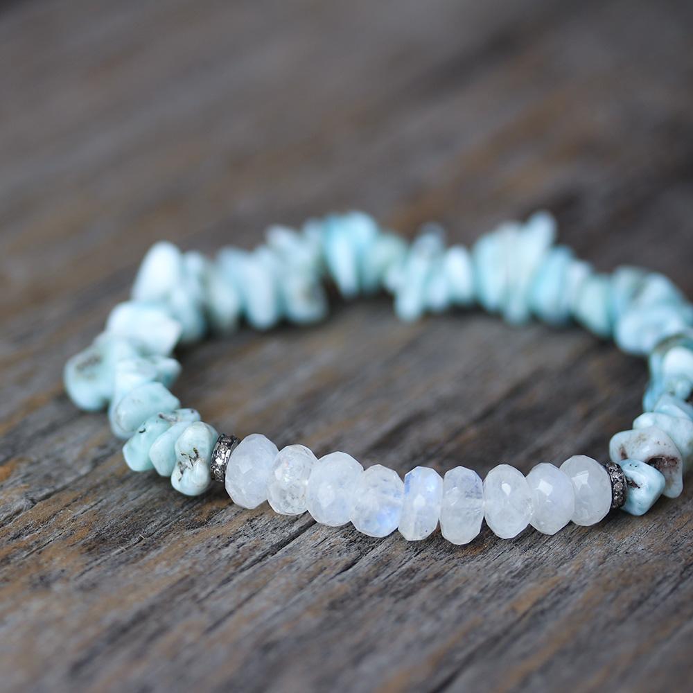 Larimar Moonstone Diamond Boho Beaded Bracelet