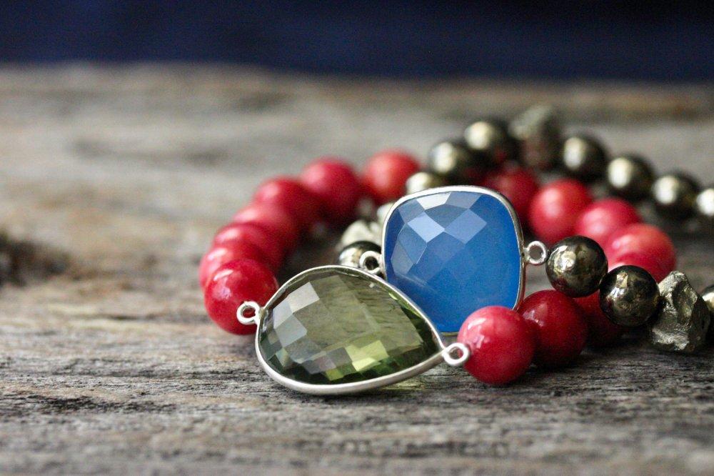 Gold Pyrite Chalcedony Statement Bracelet