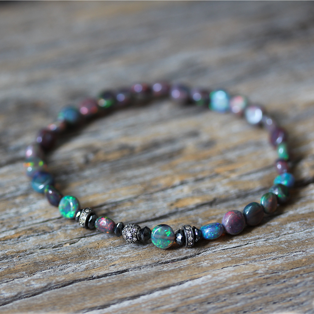 Ethiopian Opal, Black Diamond Pave Delicate Stacking Bracelet