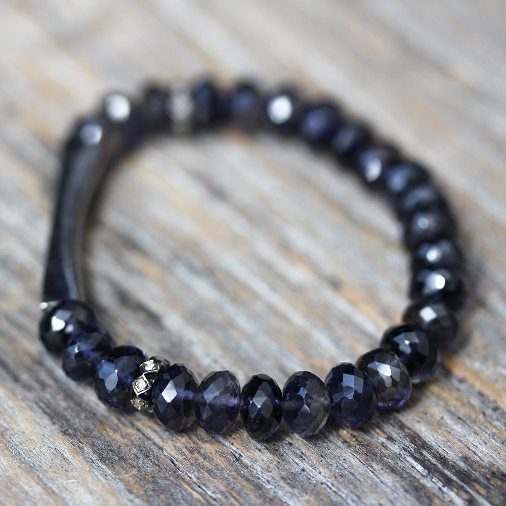 Iolite Diamond Bar Bracelet