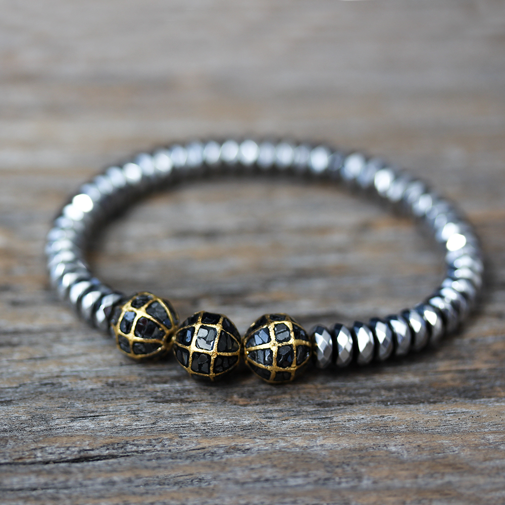 Black Diamond & Gold Hematite Bracelet