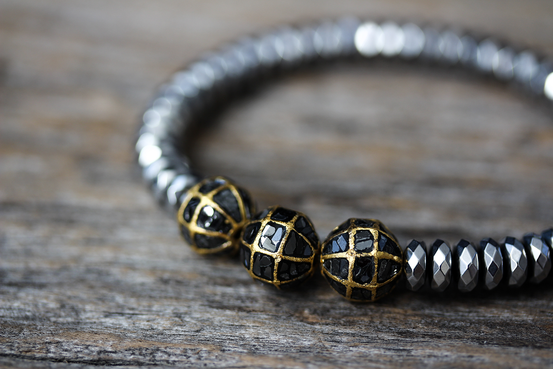 Black Diamond & Gold Hematite Bracelet