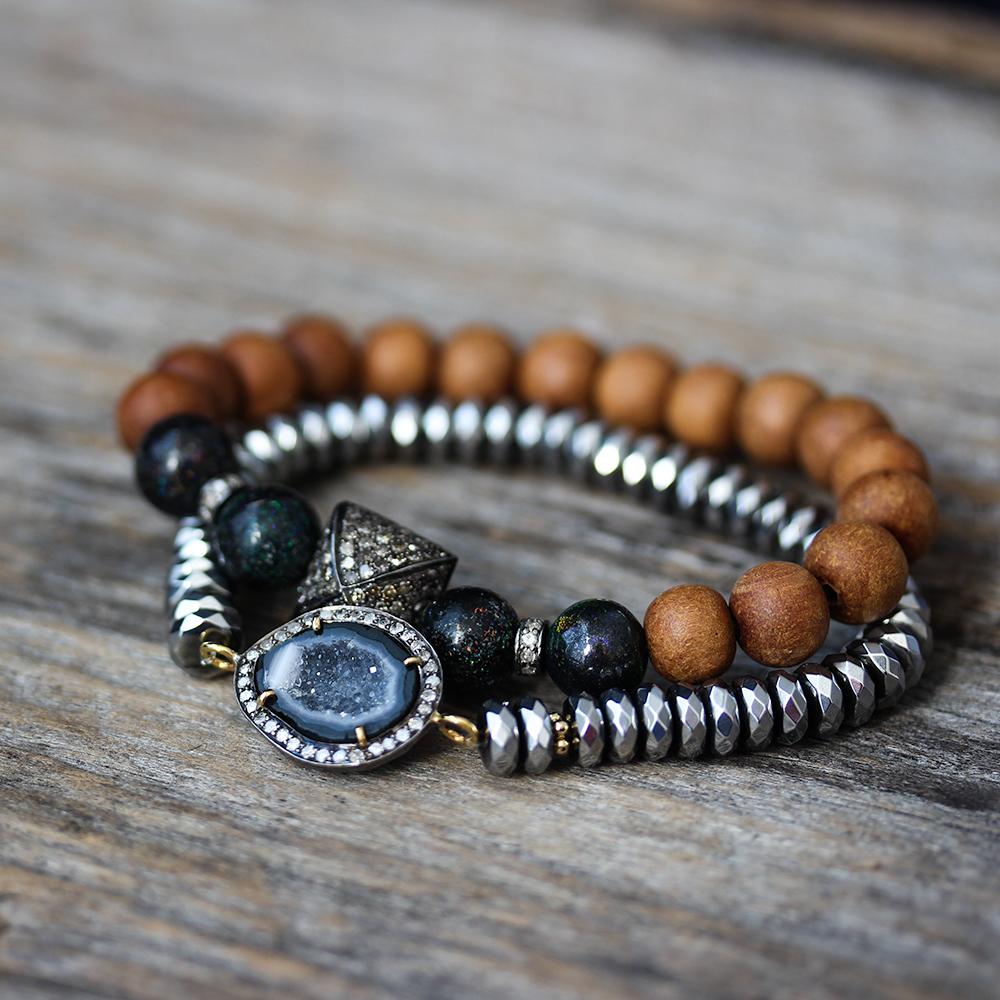 Diamond Druzy Hematite Bohemian Bracelet AS SEEN in UK VOGUE