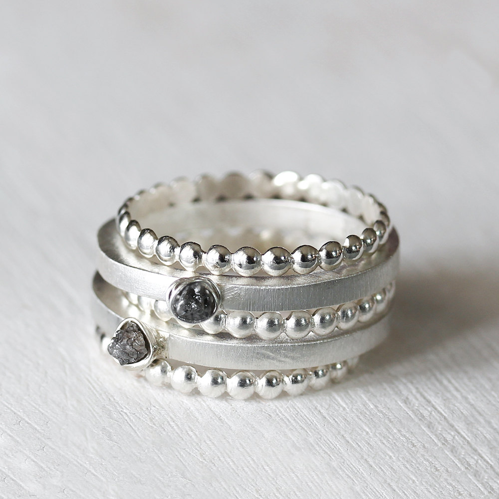 Raw Diamond Nest Sterling Silver Ring Set