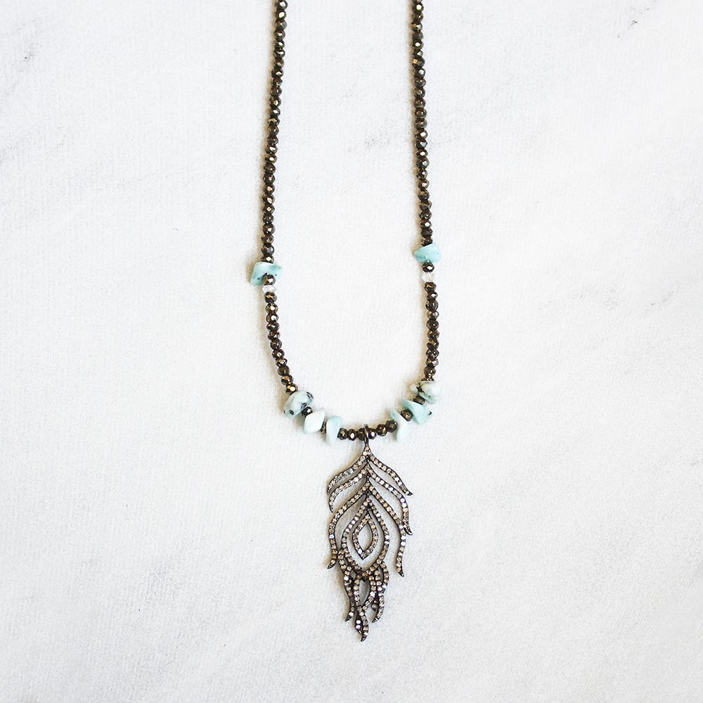 Diamond Feather Boho Necklace