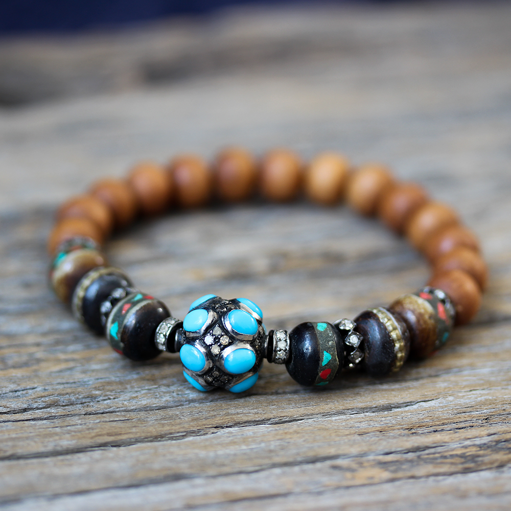 Turquoise Diamond Tibetan Bone Boho Bracelet