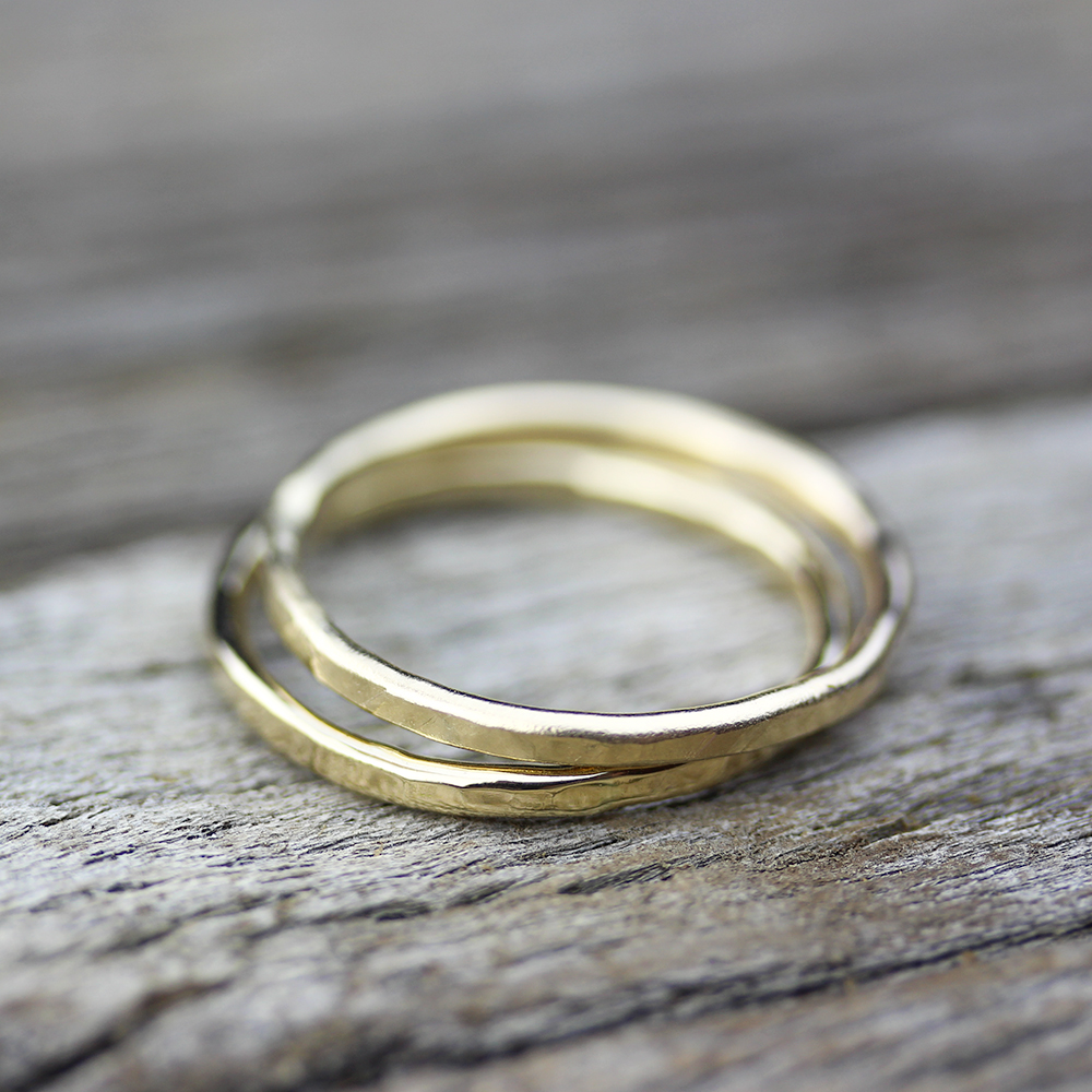 14K Gold Skinny Stacking Rings
