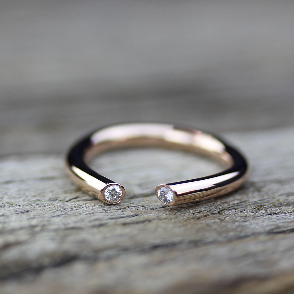 Open Diamond Gold Stacking Ring