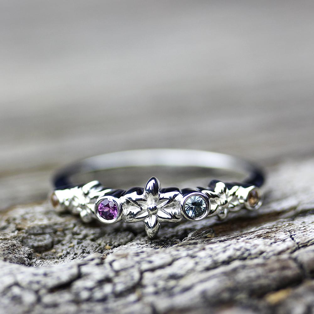Boho Flower Sapphire Ring