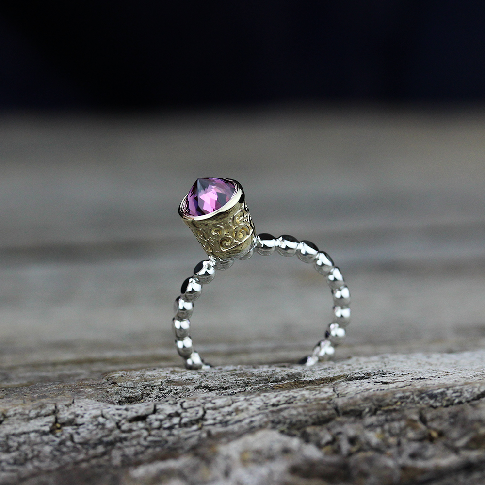 Rhodonite Garnet Gold Crown Ring