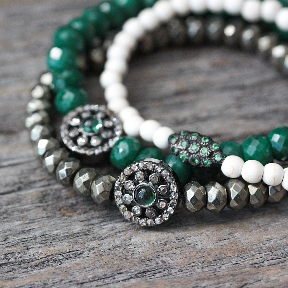 Tsavorite White Turquoise (magnesite) Pave Bracelet
