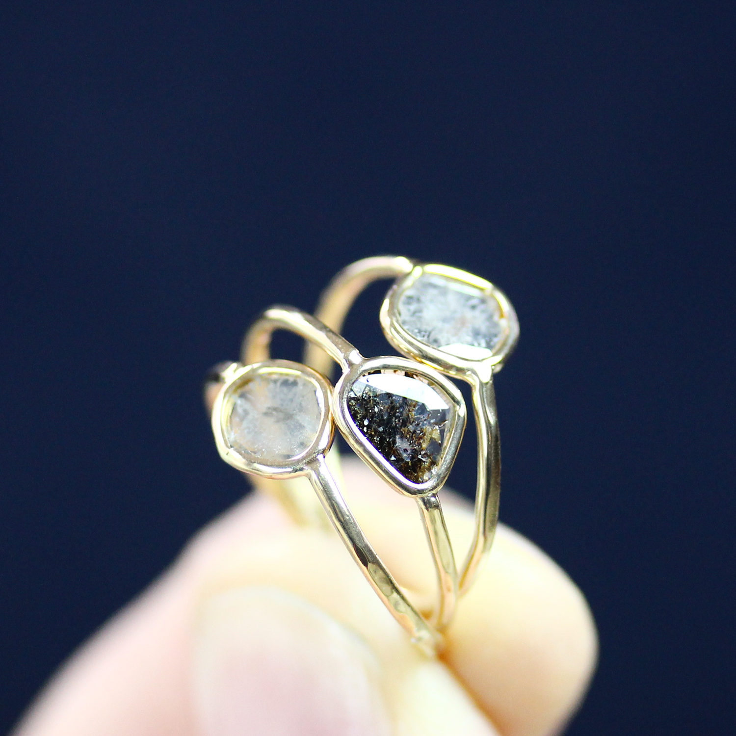 Diamond Slice Rings in 18K Gold