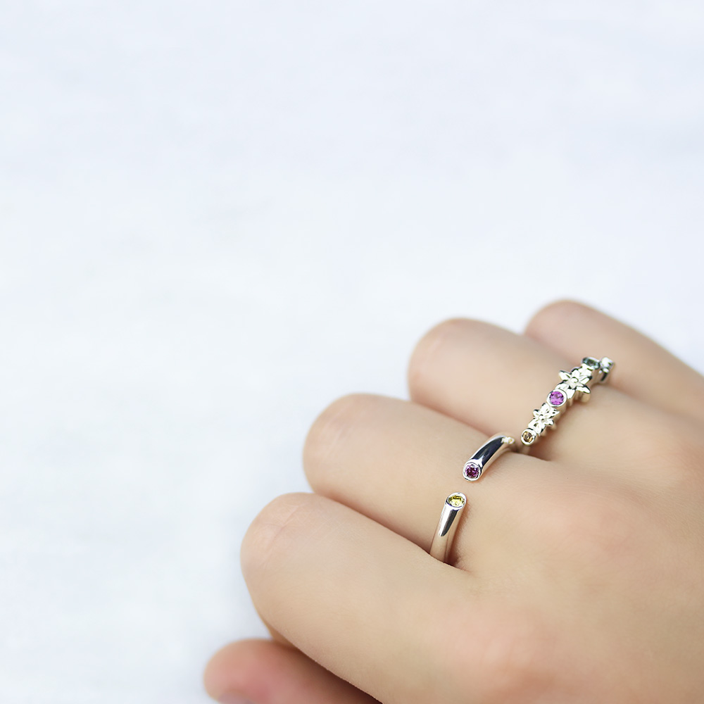 Colored Diamond Open Ring