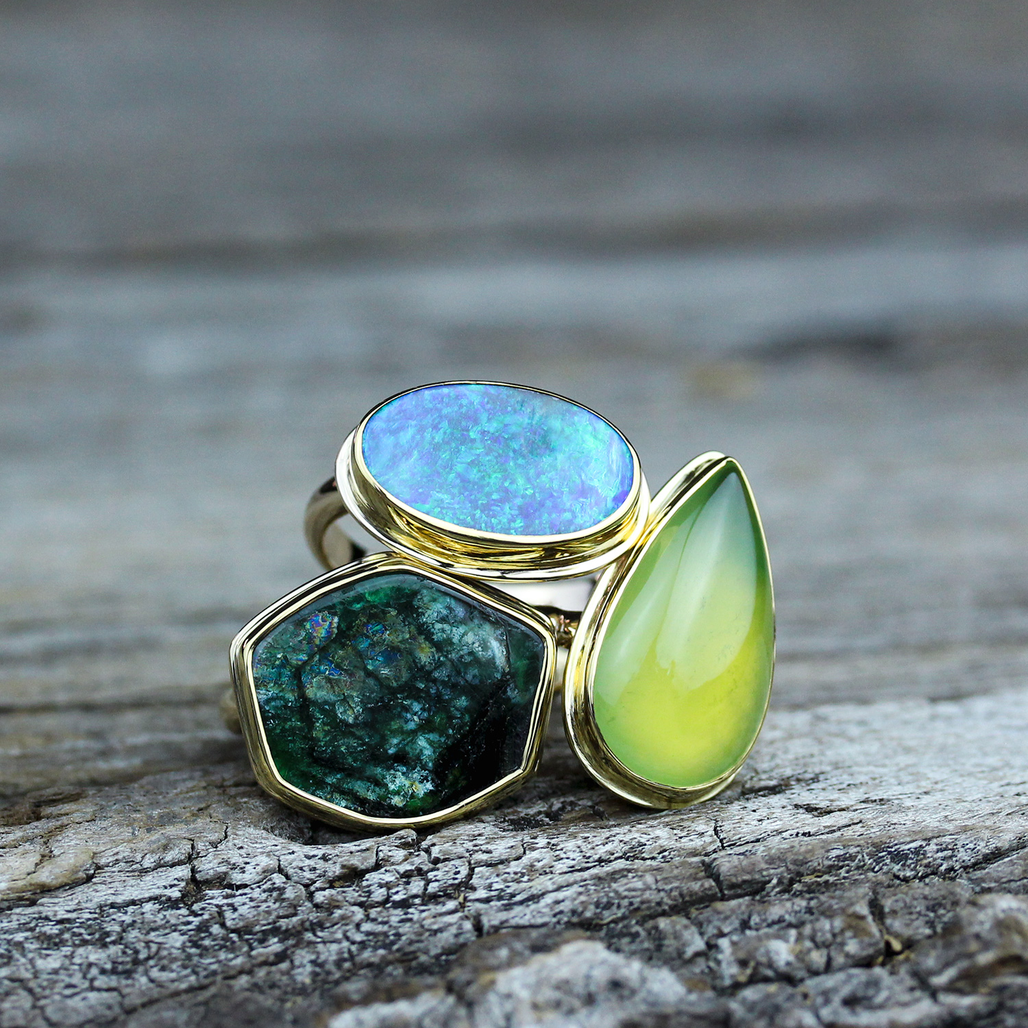 gold stone rings moonstone moon slice products ring