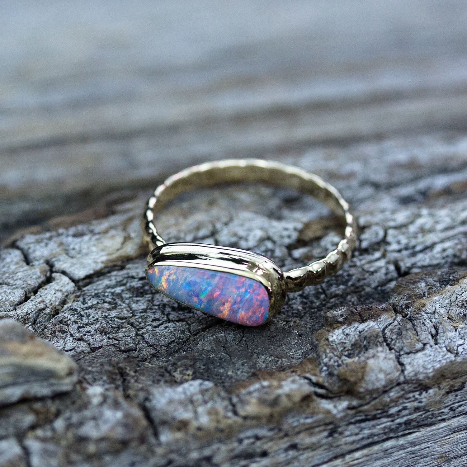 Mackerel Boulder Opal 18k Gold Ring