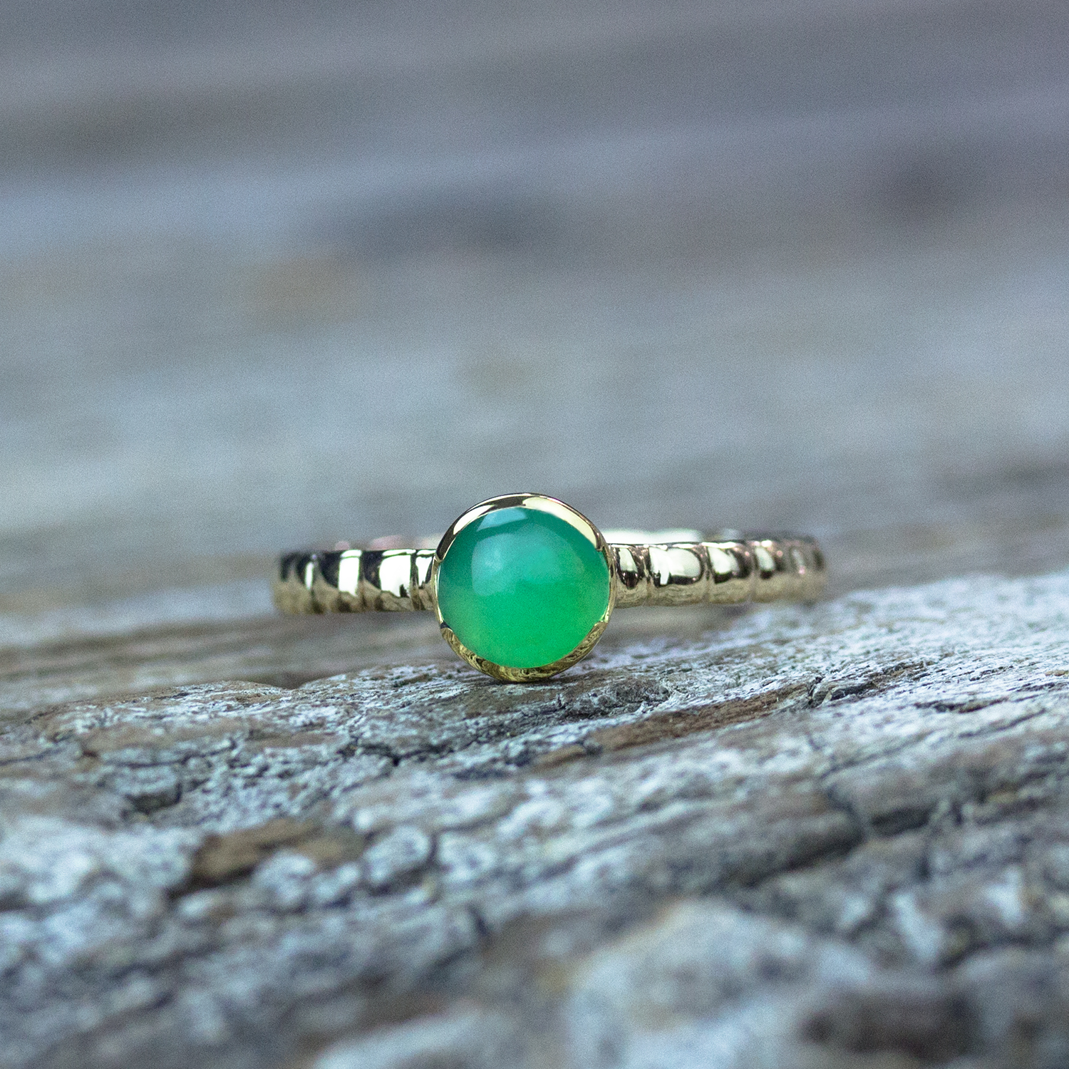 Chrysoprase Tiny Stacking Ring in 18k Gold